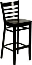 Devon Wooden High Stool with Ladder Back in Wenge